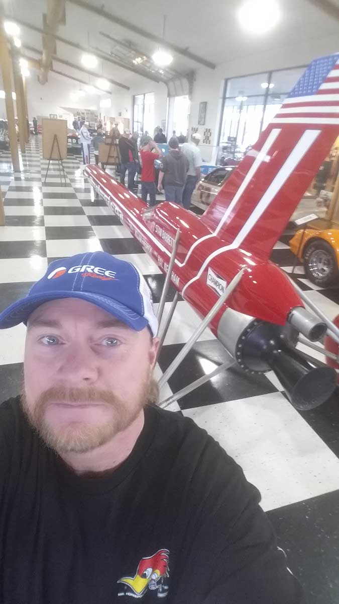 GERRY-WITH-THE-BUDWISER-ROCKET-CAR-AT-THE-MOTORSPORTS-HALL-OF-FAME-08-17