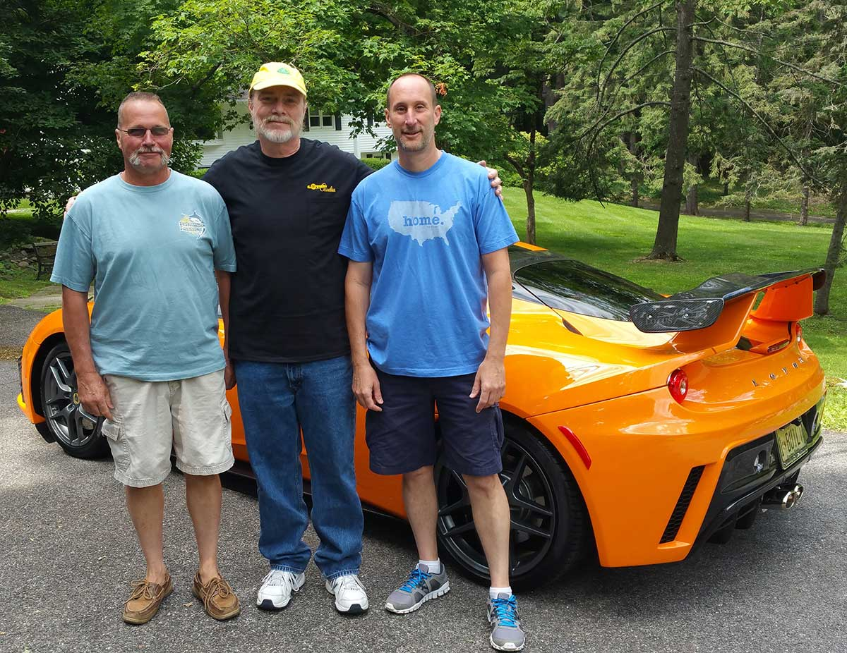 JEFF & CHAD WELLS WITH LOTUS EVORA AND ME 06-17